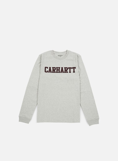 t shirt carhartt college ls t shirt snow heather chianti