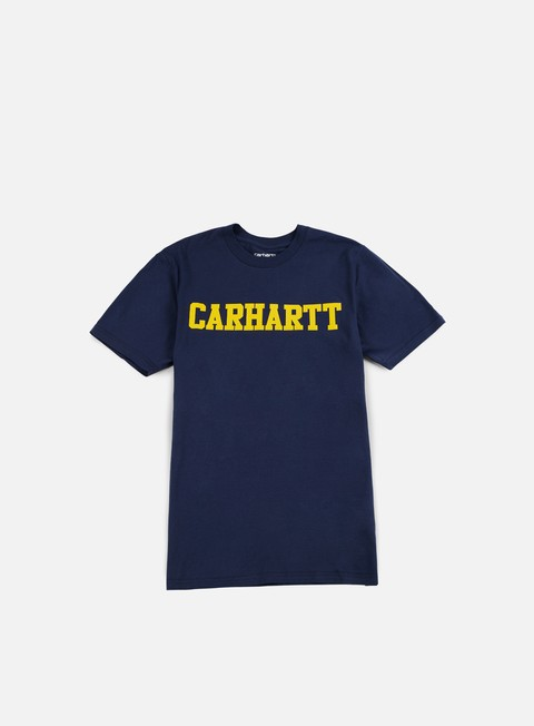 t shirt carhartt college t shirt blue yellow