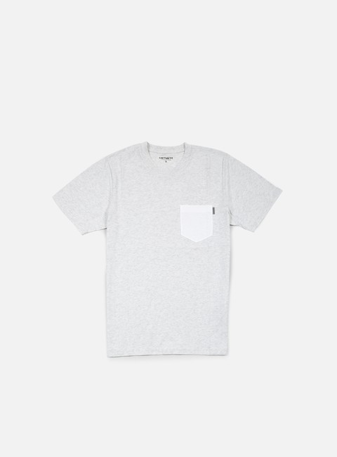 t shirt carhartt contrast pocket t shirt ash heather white