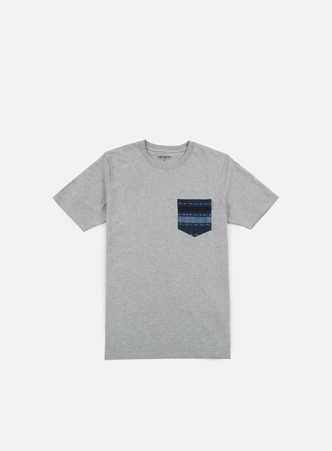 t shirt carhartt lester pocket t shirt grey heather blue ethnic print