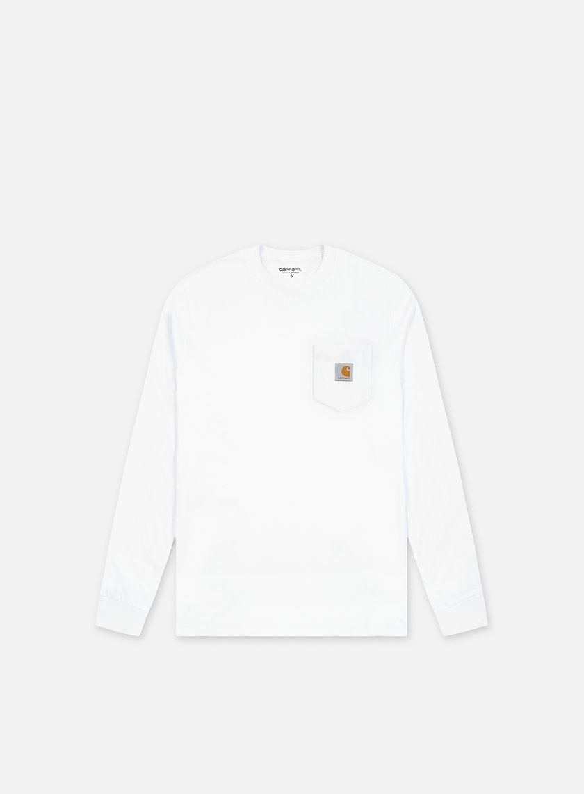 Carhartt pocket ls t shirt white 31 50 i022094 02 for Carhartt long sleeve t shirts white