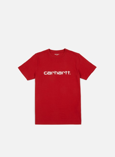 t shirt carhartt script t shirt blast red white