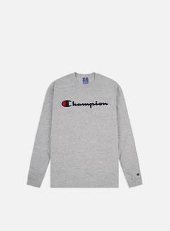 Champion - Chenille Logo LS T-shirt, Light Grey Melange