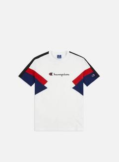 Champion - Colorblock Printed Logo T-shirt, White/Red/Navy