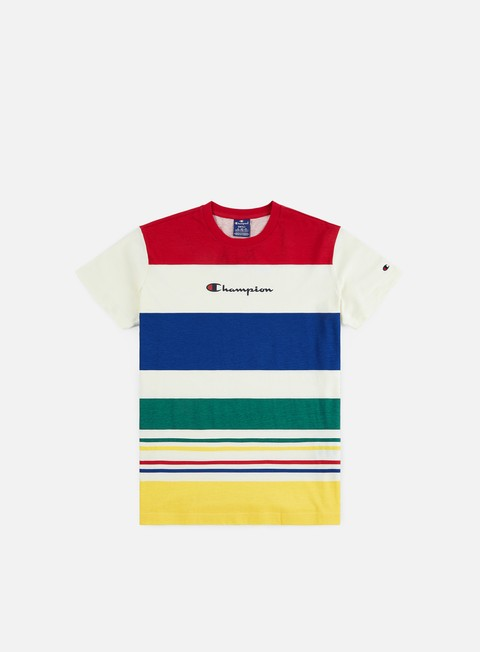 T-shirt a Manica Corta Champion Striped Logo T-shirt