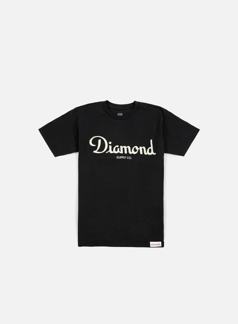 Short Sleeve T-shirts Diamond Supply Champagne Script T-shirt