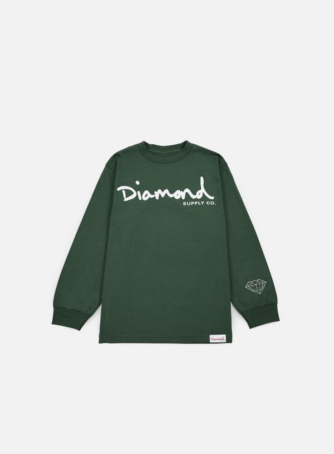 t shirt diamond supply og script ls t shirt forest green