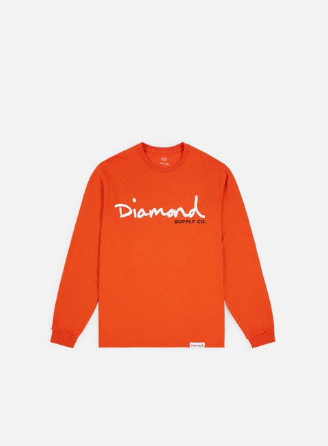 t shirt diamond supply og script ls t shirt orange