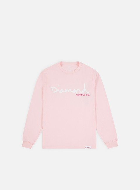 t shirt diamond supply og script ls t shirt pink
