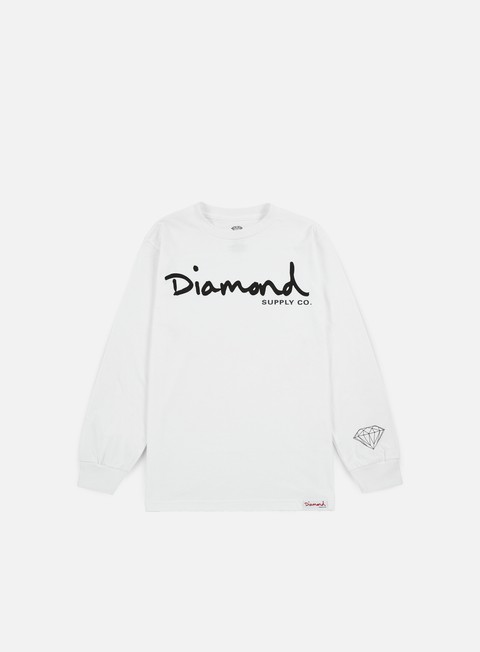 t shirt diamond supply og script ls t shirt white