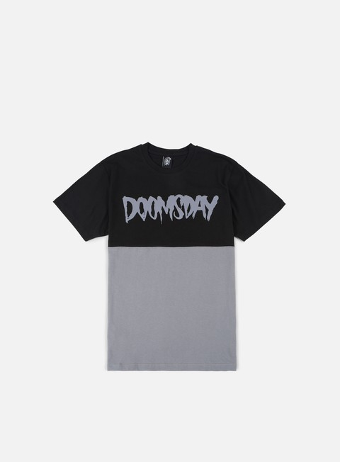 t shirt doomsday logo 2 tone t shirt black dark grey