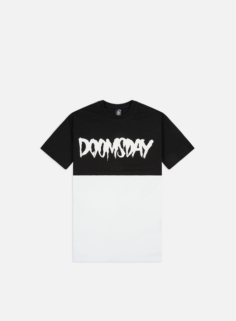 t shirt doomsday logo 2 tone t shirt black white