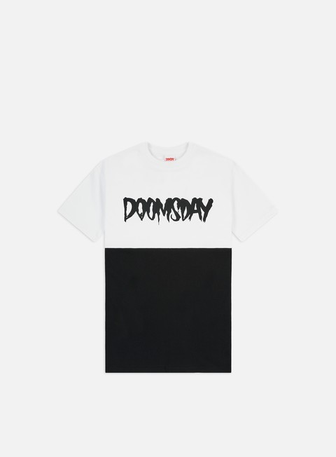 t shirt doomsday logo 2 tone t shirt white black