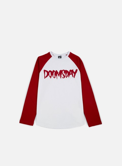 t shirt doomsday logo ls t shirt burgundy white