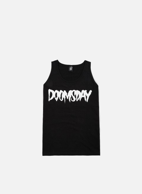 t shirt doomsday logo tank top black white