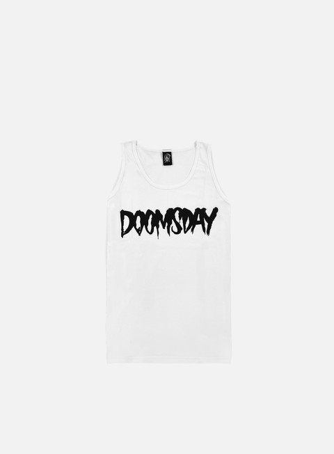 t shirt doomsday logo tank top white black