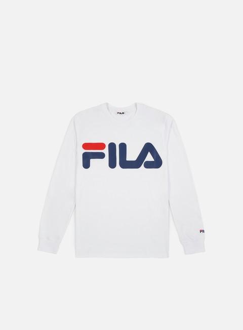 t shirt fila classic logo ls t shirt bright white