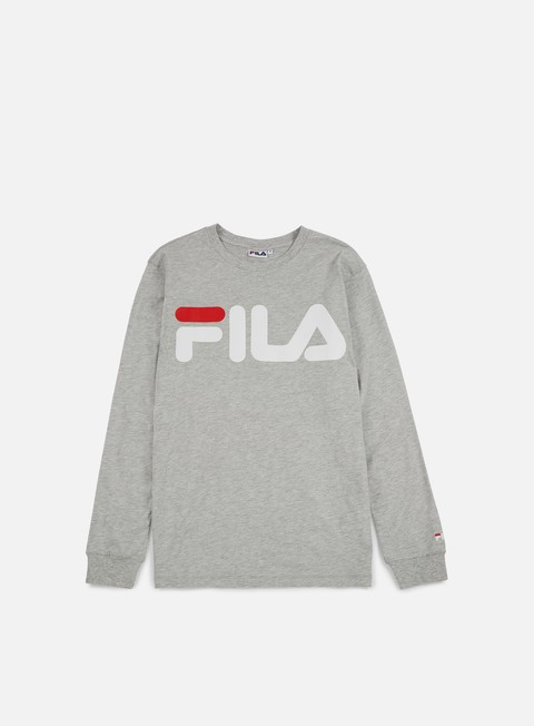 t shirt fila classic logo ls t shirt light grey