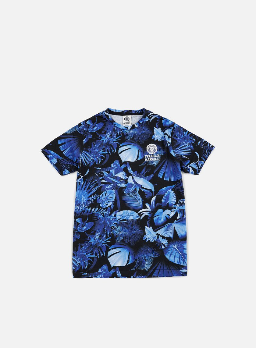 Franklin & Marshall - All Over Print Logo T-shirt, Blue Forest