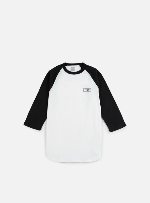 t shirt huf bar logo 3 4 raglan t shirt white black