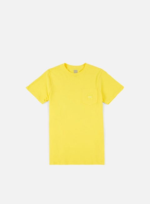 t shirt huf box logo pocket t shirt yellow