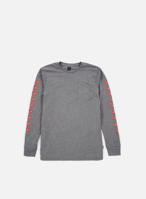 t shirt huf chocolate checkered ls pocket t shirt grey heather