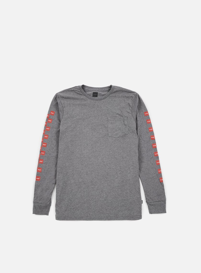 Huf - Chocolate Checkered LS Pocket T-shirt, Grey Heather
