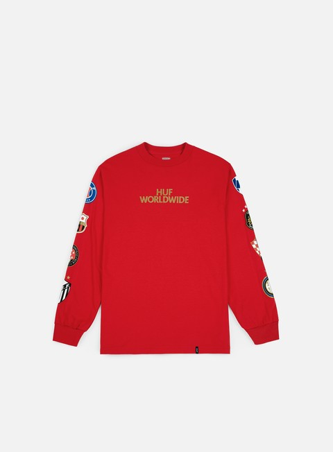 t shirt huf dbc fc club crest ls t shirt red