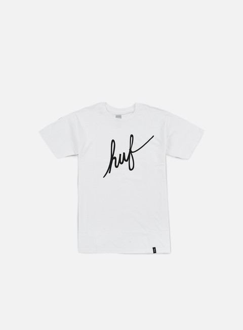 t shirt huf demi script t shirt white black
