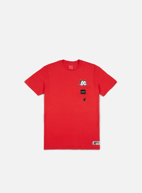 t shirt huf felix watching pocket t shirt red