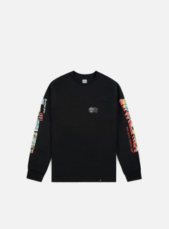 Huf - Greetings Pocket LS T-shirt, Black