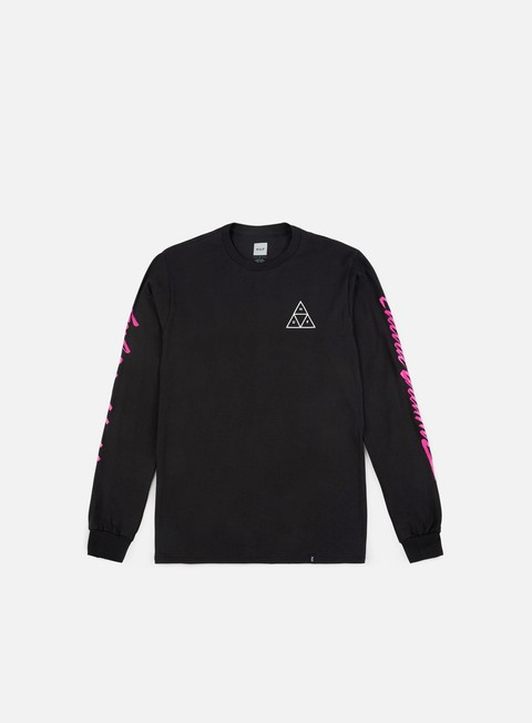 t shirt huf night call triple triangle ls t shirt black