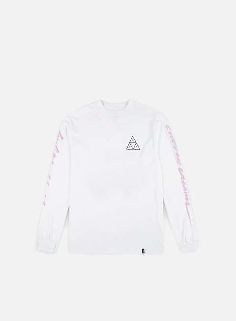 t shirt huf night call triple triangle ls t shirt white