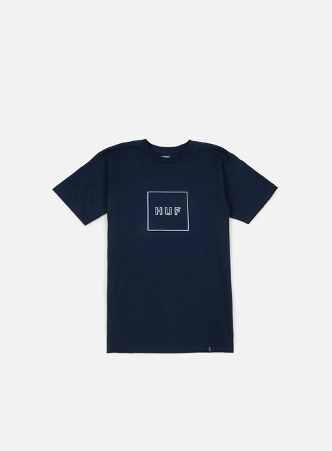 t shirt huf outline box logo t shirt navy