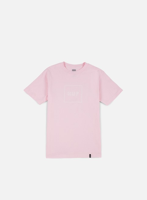 t shirt huf outline box logo t shirt pink
