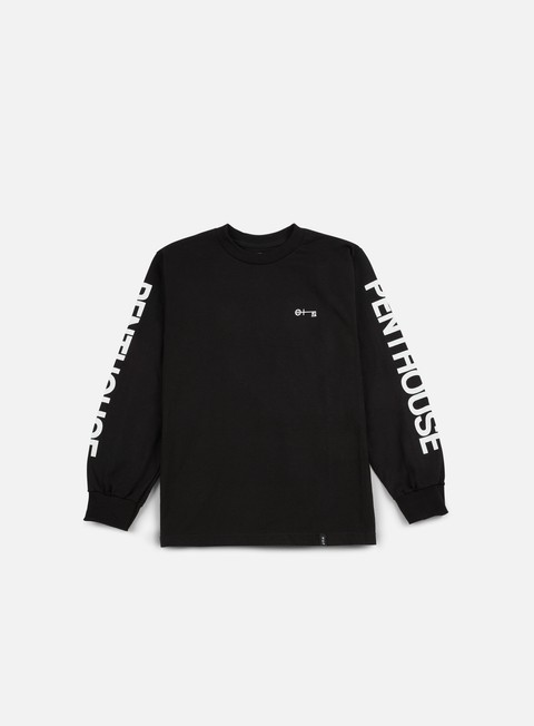 t shirt huf penthouse long sleeve t shirt black white