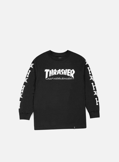 t shirt huf thrasher collab logo ls t shirt black