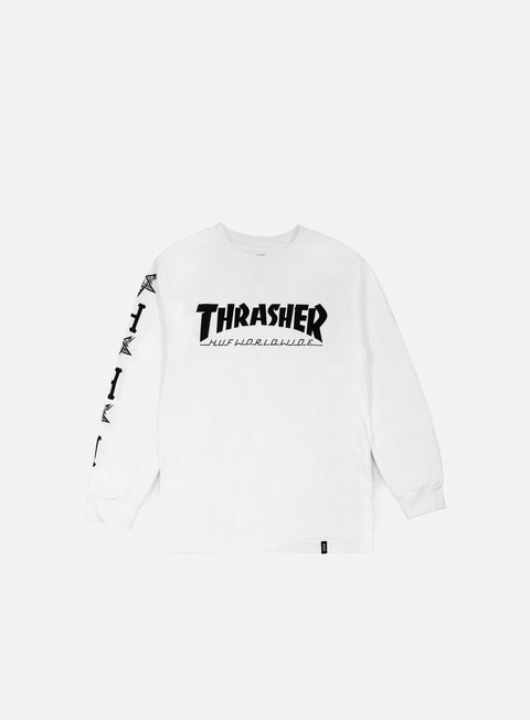 t shirt huf thrasher collab logo ls t shirt white
