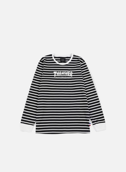t shirt huf thrasher tds stripe ls t shirt black