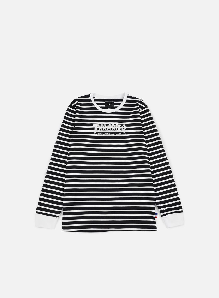 Huf - Thrasher TDS Stripe LS T-shirt, Black