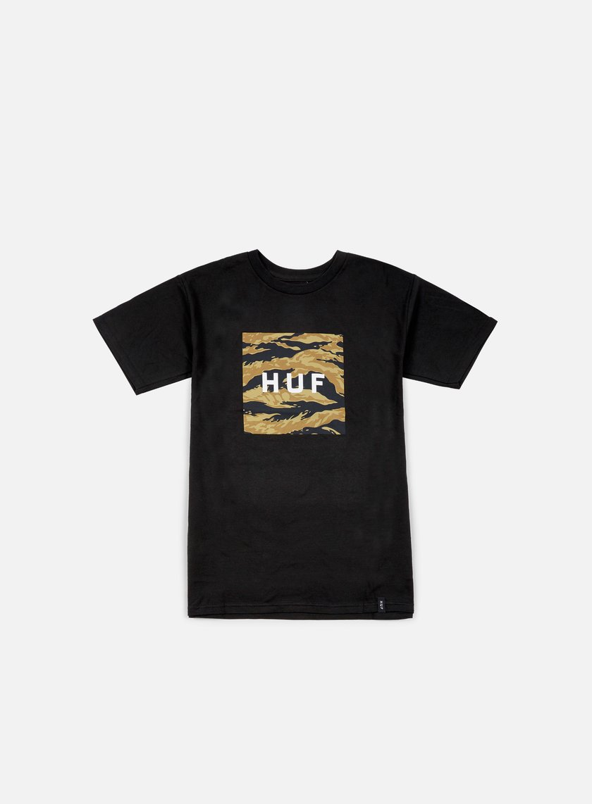 Huf - Tiger Camo Box Logo T-shirt, Black