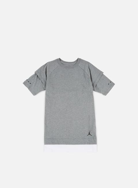 t shirt jordan aj13 double layer t shirt carbon heather white