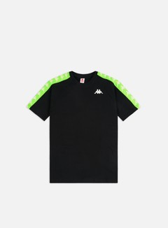 Kappa - 222 Banda Coen Slim T-shirt, Black/Neon Green