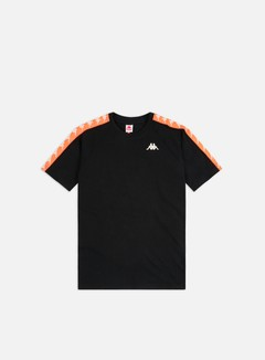 Kappa - 222 Banda Coen Slim T-shirt, Black/Neon Orange