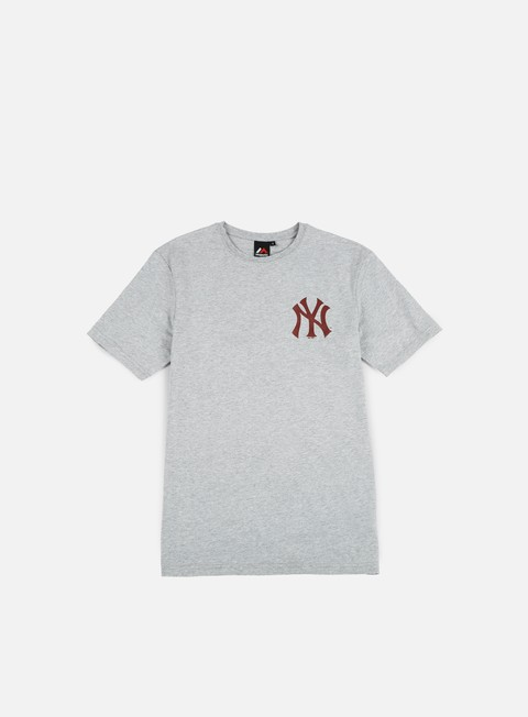 t shirt majestic tovey longline logo t shirt ny yankees heather grey