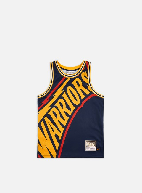 Outlet e Saldi Canotte da Basket Mitchell & Ness Big Face Jersey Golden State Warriors