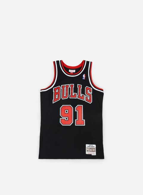 t shirt mitchell e ness chicago bulls swingman jersey dennis rodman black red