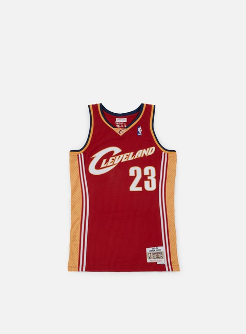 t shirt mitchell e ness cleveland cavaliers swingman jersey lebron james red gold