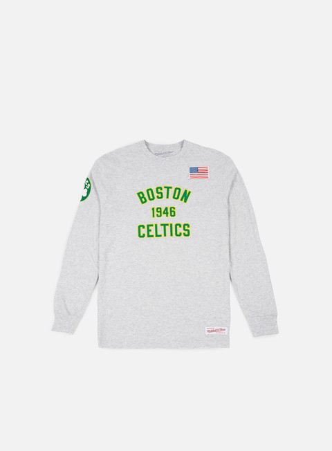 t shirt mitchell e ness estabished year ls t shirt boston celtics ash grey
