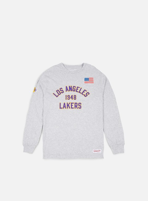 t shirt mitchell e ness estabished year ls t shirt la lakers ash grey